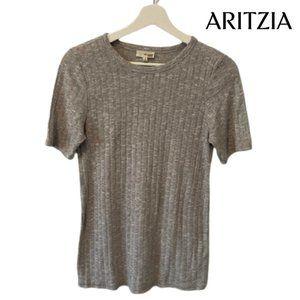 Aritzia Wilfred Free Grey Knit T-Shirt